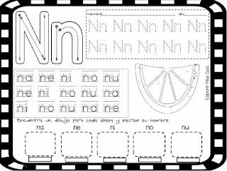 trazos de silabas Na Ne Ni No Nu
