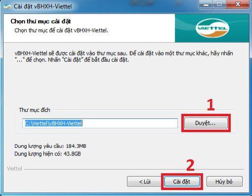 Hình 2 - Chọn thư mục để cài đặt phần mềm vBHXH của Viettel