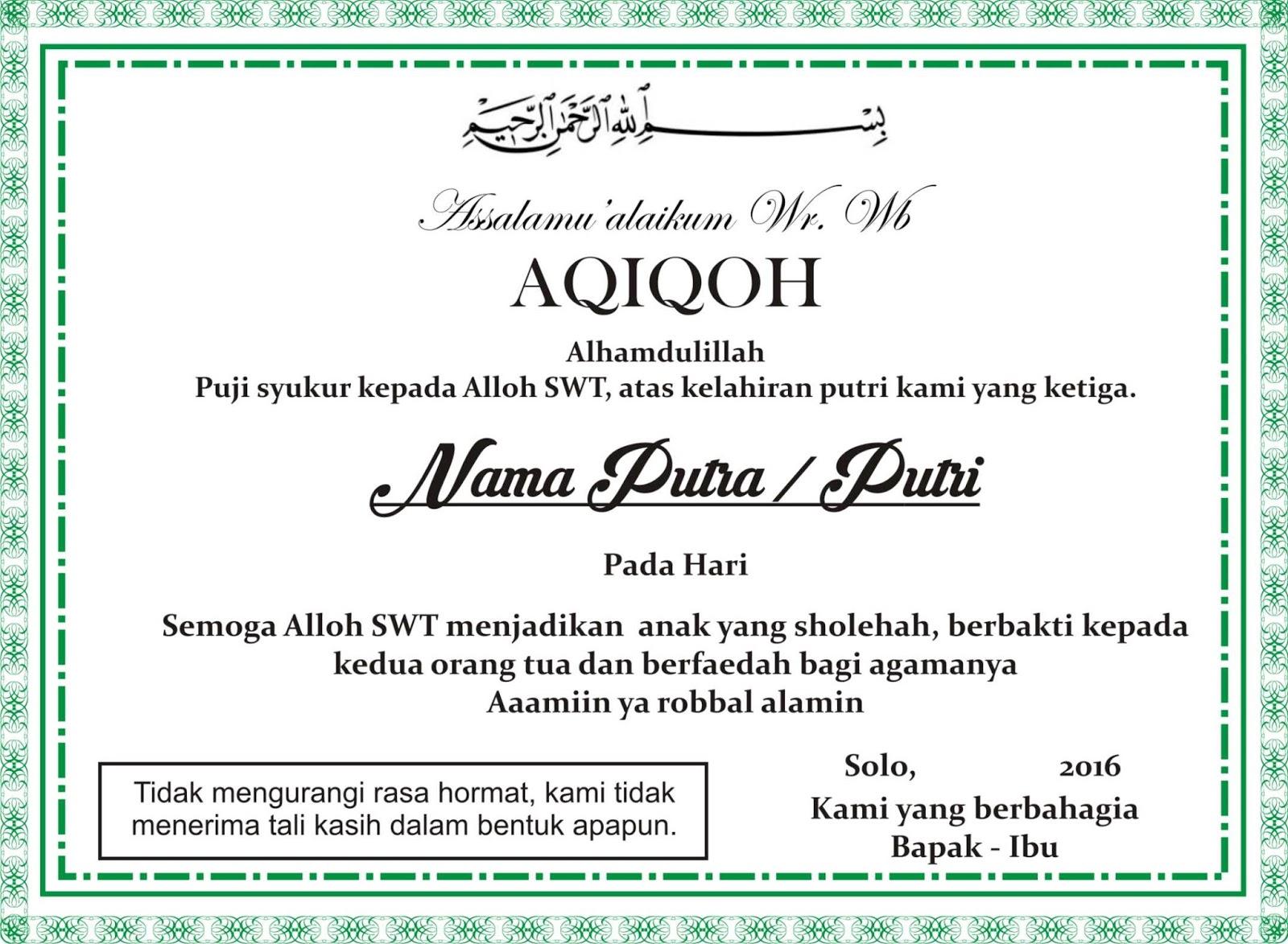 Download Desain Aqiqoh, Tasyakuran atau Selapanan Anak ...