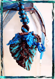 New Leaf Pendant by Karen Williams, polymer clay leaf by Jeannie Dukic