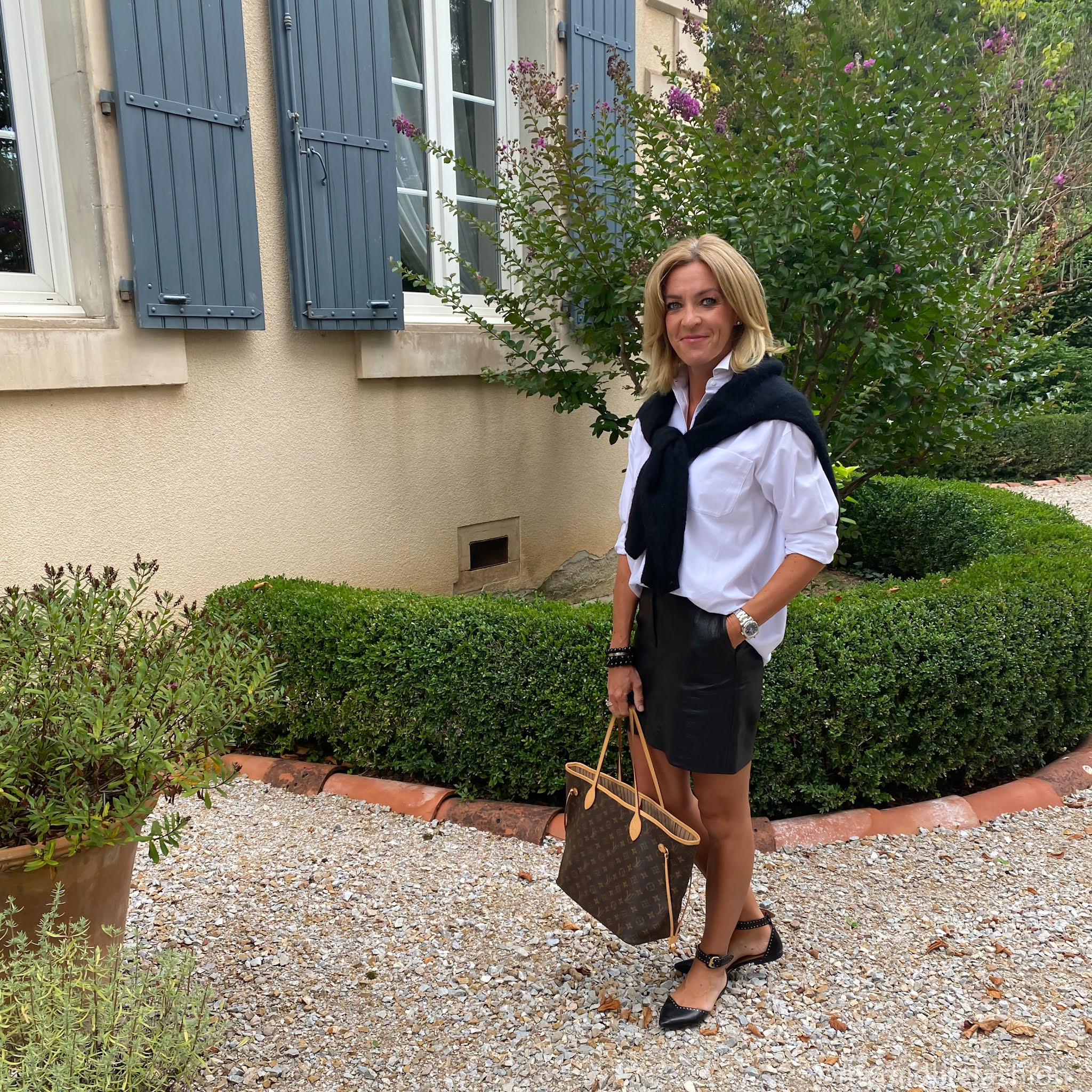 my midlife fashion, acne studios crew neck jumper, and other stories boyfriend shirt, Louis Vuitton never full medium tote, marks and Spencer faux leather a line skirt, Isabel Marant flat studded shoes