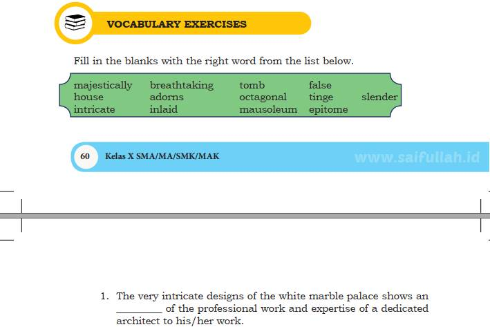 Pembahasan Soal Bahasa Inggris Chapter 4 Halaman 60 Vocabulary Exercise