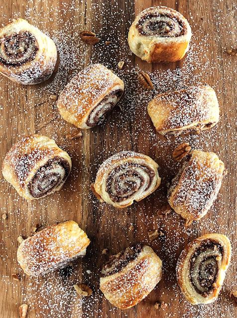 Nutella & Pecan Puff Pastry Swirls