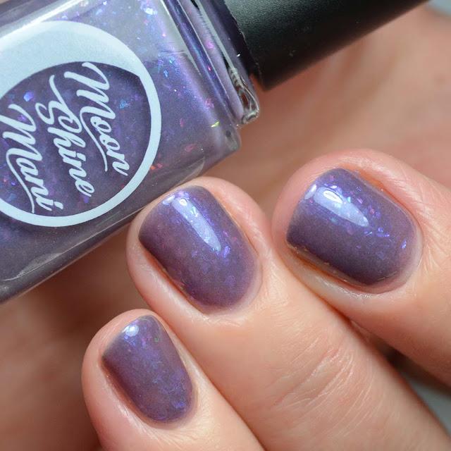 mauve flakie nail polish swatch
