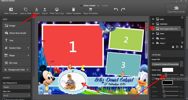 Dowload free dsrlbooth template for kid birthday