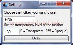 Taskbar Transparency v2 finestra Settings delle impostazioni