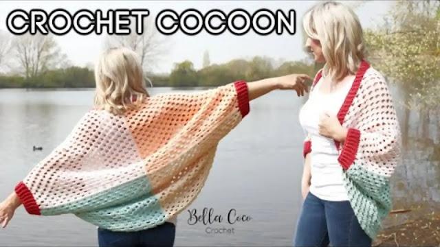 Tutorial de Chaqueta Cocoon Tejido a Crochet