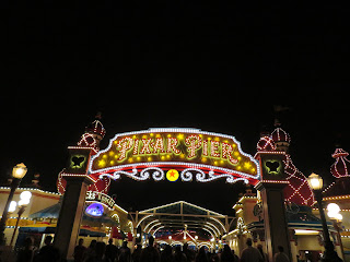 Pixar Pier Entrance night sign