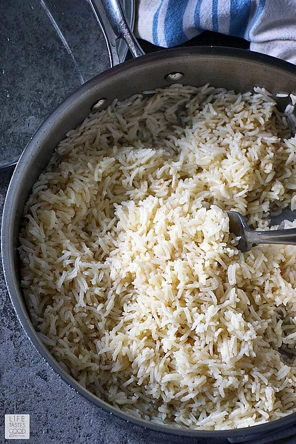 Fluffy white basmati rice ready to use in Teriyaki Rice Bowl recipe