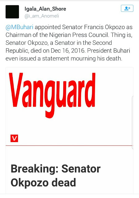 Buhari appionted dead persons into board and agencis