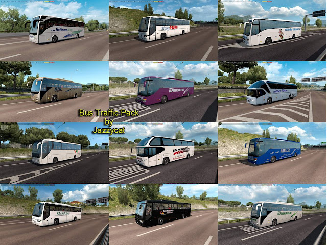 ets 2 bus traffic pack v7.0 by jazzycat new buses