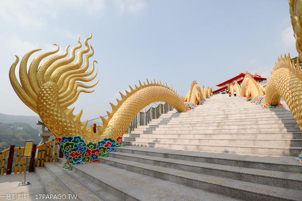 中寮金龍山法華寺兩尾亞洲最長80米金龍護持,還有雙鳳凰迎賓