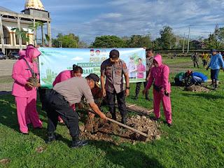 Sinergitas Polres Sinjai Dengan Instansi Tanam Pohon Secara Serentak