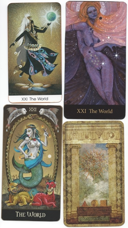 The World or Universe Tarot card, various