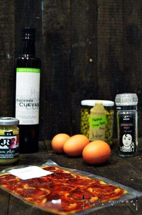 ingredientes para preparar milhoja de habitas fritas