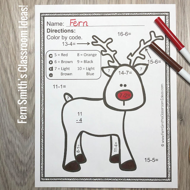FIVE Christmas Color By Number Subtraction Facts by Fern Smith's Classroom Ideas