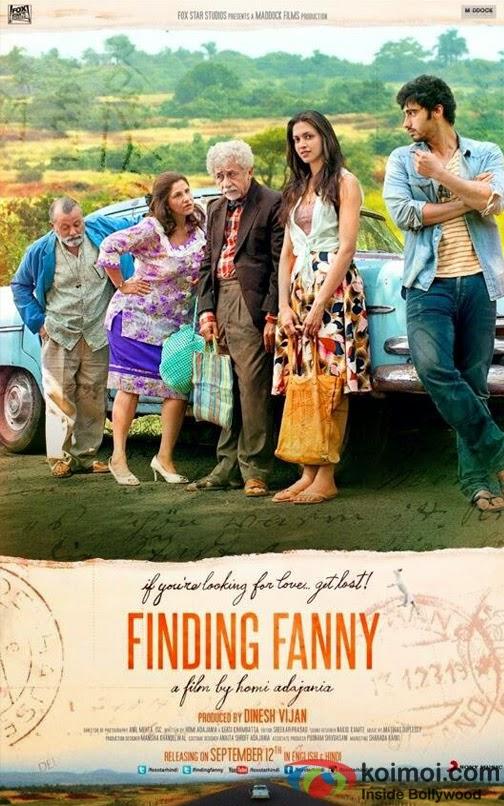 Finding Fanny, Movie Poster, Directed by Homi Adajania, starring Naseeruddin Shah, Pankaj Kapur, Dimple Kapadia, Deepika Padukone and Arjun Kapoor