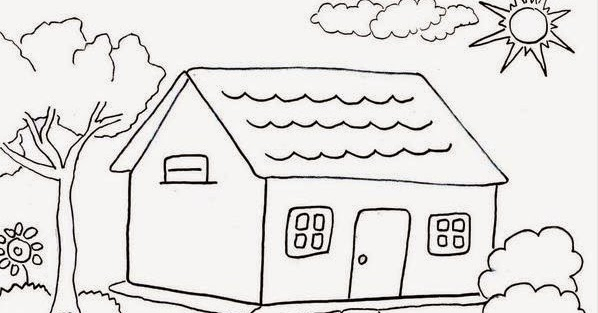 Beautiful Home and Reindeer Coloring Sheets Printable