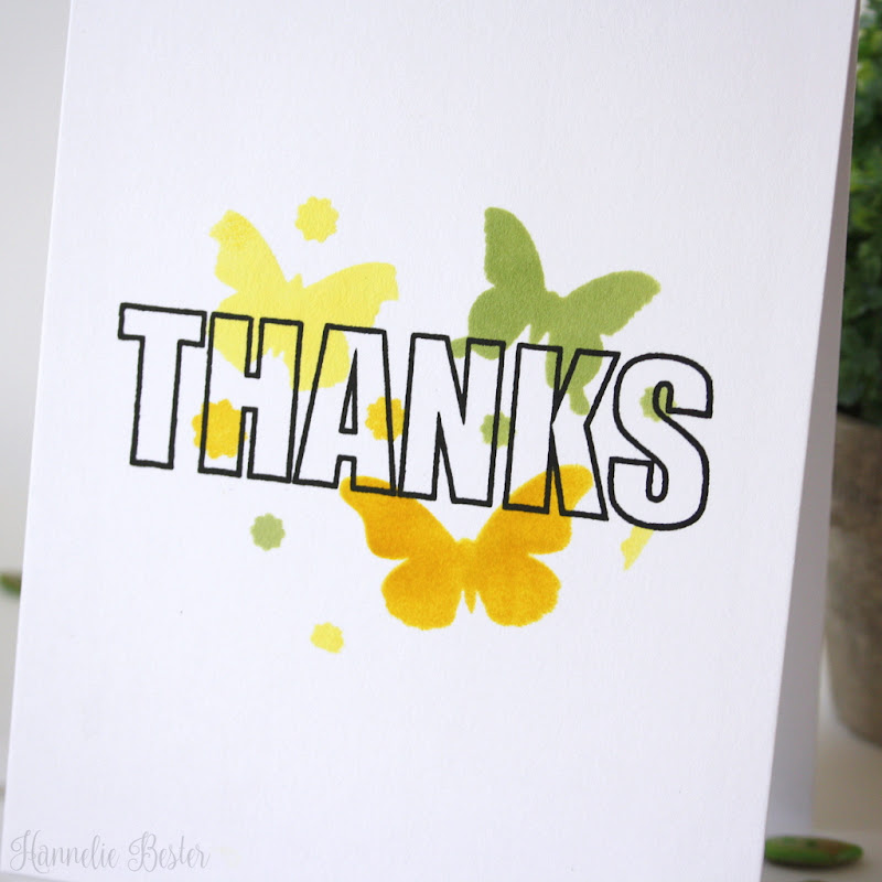 one layer thank you card : Uniko stamp and stencil