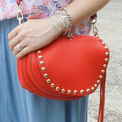silver bracelet stack, Rebecca Minkoff unlined saddle bag in cherry red  | awayFromTheBlue