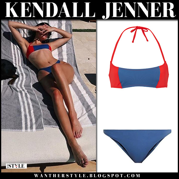 Kendall Jenner in blue and red bikini solid and striped model beach style may 28