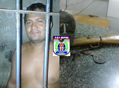 Após agredir e ameacar de morte a esposa homem é preso com arma de fogo na zona rural de Mata Roma