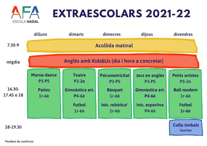 Imatge amb el calendari d'extraescolars de l'AFA de l'Escola Nadal del curs 2021-2022