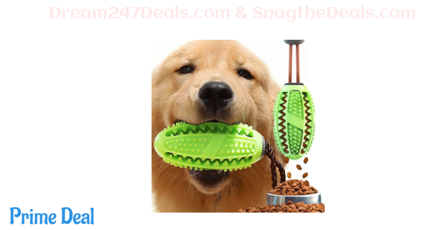 50%off Dog Treat Toy Food Dispensing Training Ball,Tooth Cleaning Chew Toy for Small Medium Dogs IQ Interactive Puppy Depressing Toys,Pet Bad Breath Cleaning Toy