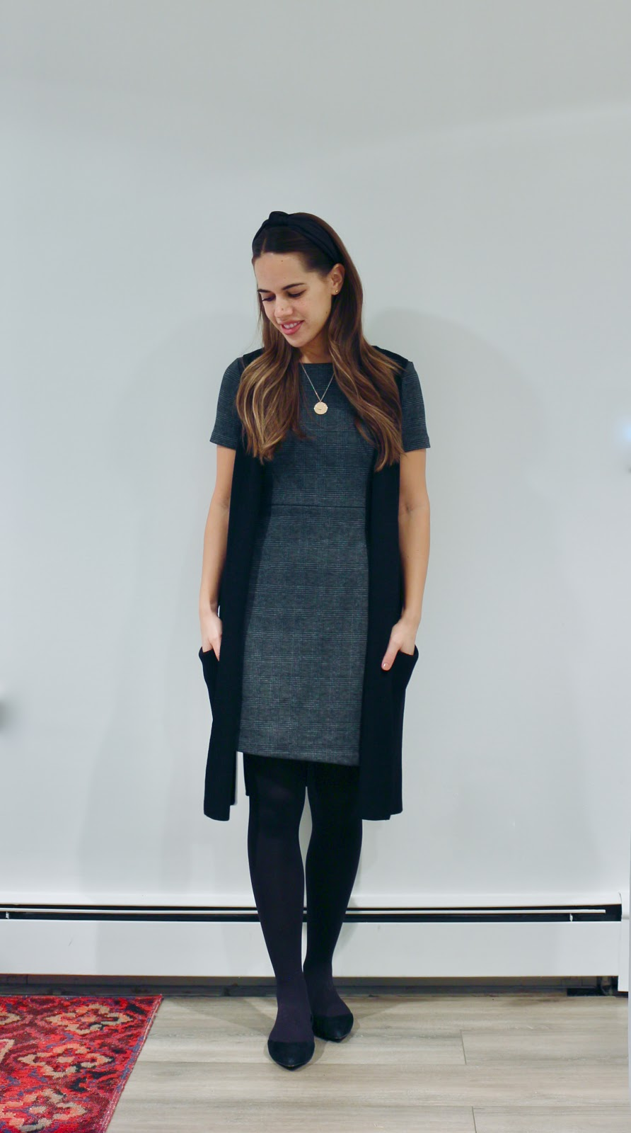 Jules in Flats - Plaid Shift Dress + Long Sweater Vest (Business Casual Winter Workwear on a Budget)