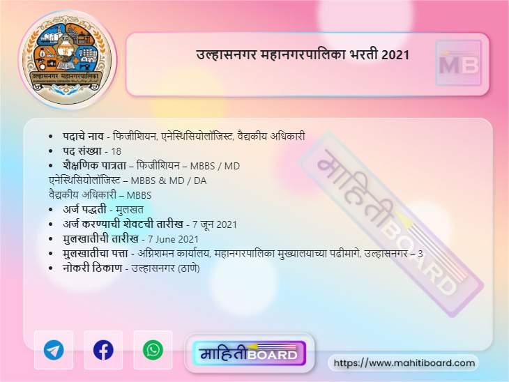 Ulhasnagar Mahanagarpalika Bharti 2021