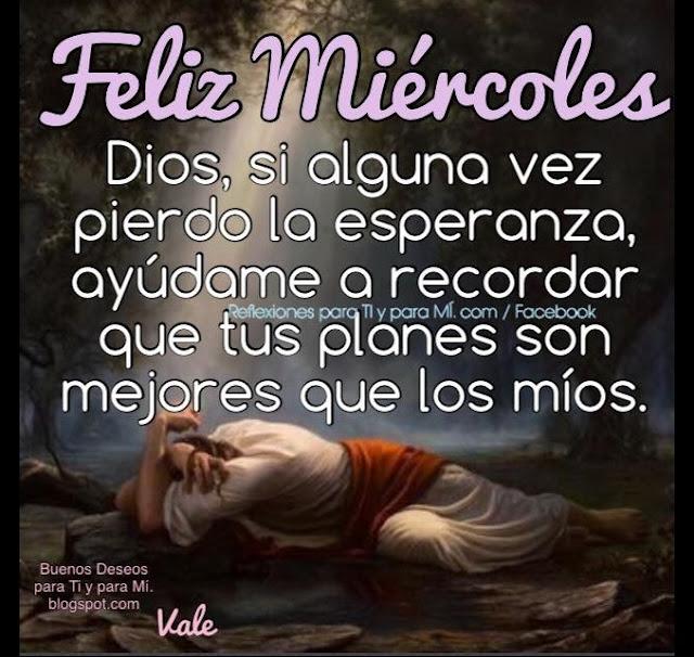 FELIZ MIÉRCOLES  Dios, si alguna vez  pierdo la esperanza, ayúdame a recordar que tus planes son mejores que los míos.