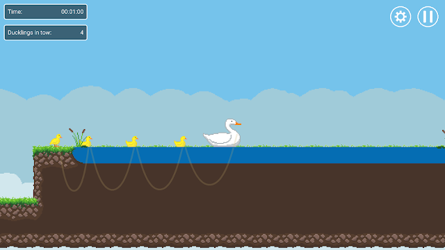 A screenshot from Momma Duck showing a couple new HUD panels: one shows the time, one shows the number of ducklings currently in tow.