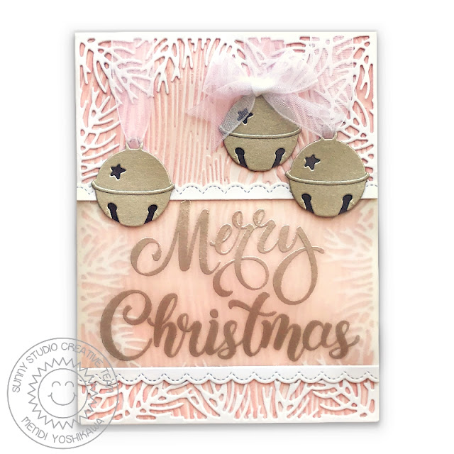 Sunny Studio: Pink, Silver & White Soft Merry Christmas Holiday Card (using Christmas Garland Frame and Silver Bells Dies and Season's Greetings Stamps)