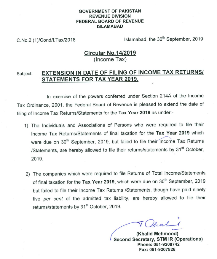 Extension In Filing Of Income Tax Return 2019