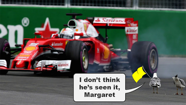 """A seagull waving a yellow flag at Sebastian Vettel's car, saying to another seagull """"I don't think he's seen it, Margaret"""""""