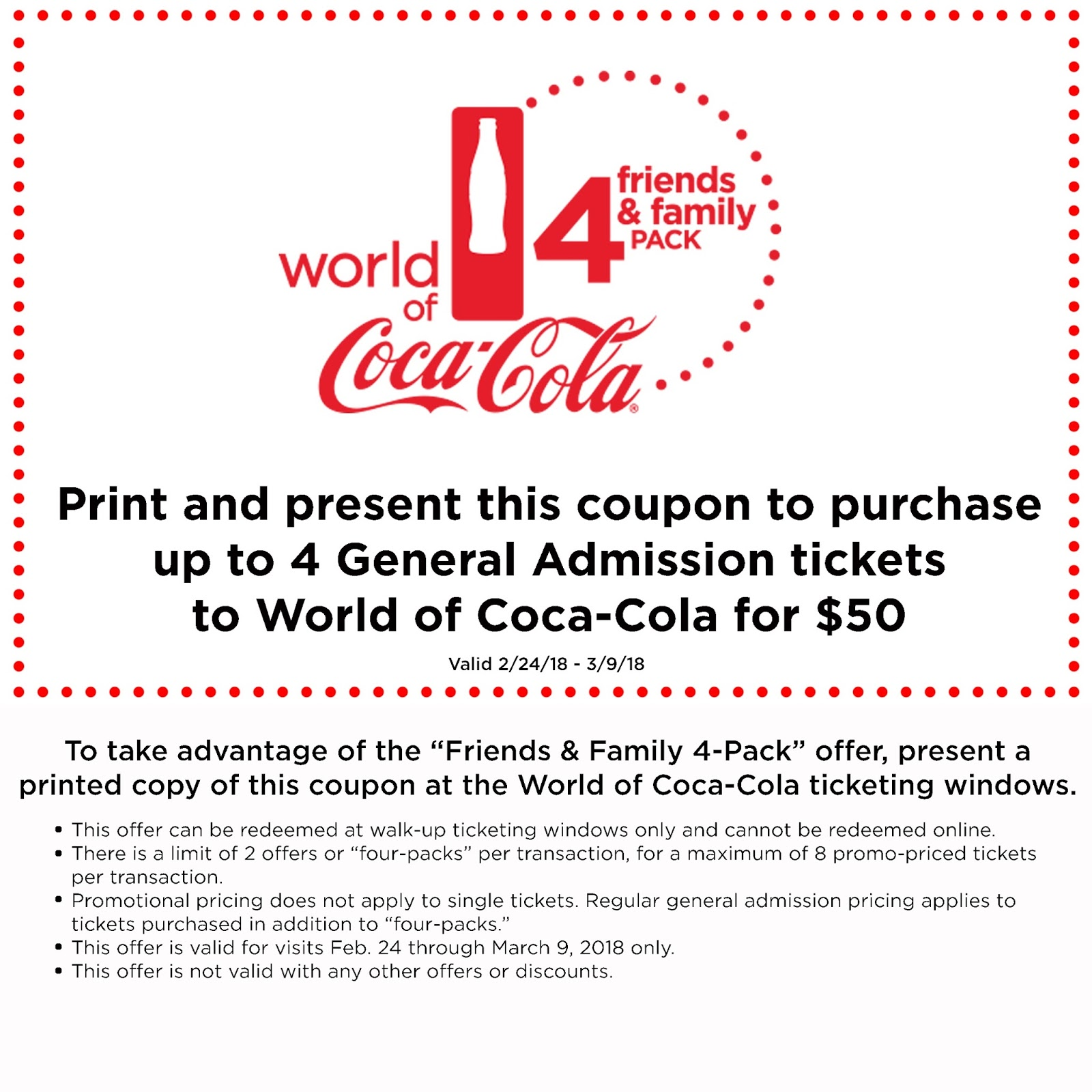 World of Coca-Cola Friends & Family Four-Pack Ticket Offer  via  www.productreviewmom.com