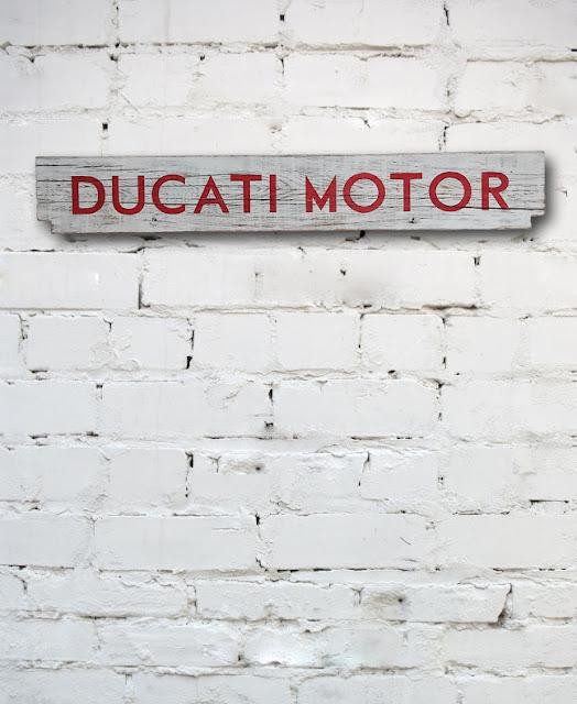 Ducati Motor painted onto reclaimed wood
