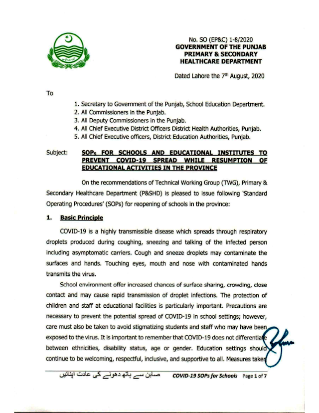SOPs FOR SCHOOLS AND EDUCATIONAL INSTITUTIONS TO PREVENT COVID-19 SPREAD