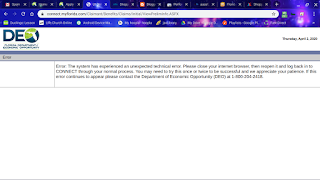 Florida reemployment website error