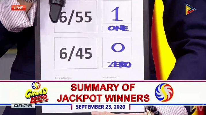 1 winner of P128.4-M Grand Lotto 6/55 jackpot on September 23, 2020