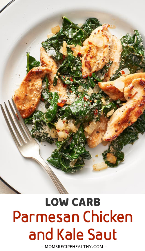 Low Carb Parmesan Chicken and Kale Sauté