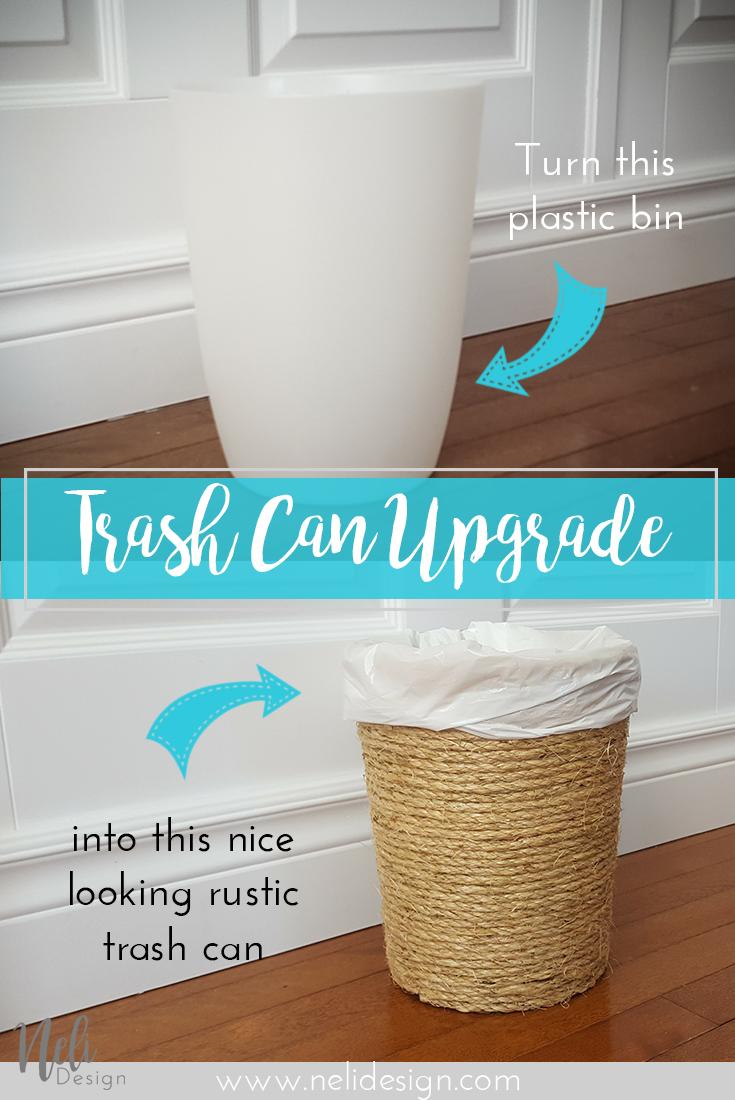 Sisal Trash Can | Waste bin | Upgrade | Rustic | Easy cheap fast DIY | Poubelle | Salle de bain | Home Decor