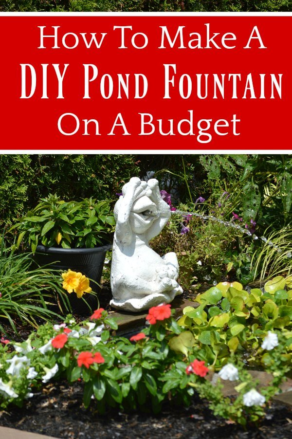 How To Make A DIY Pond Fountain On A Budget text on frog fountain
