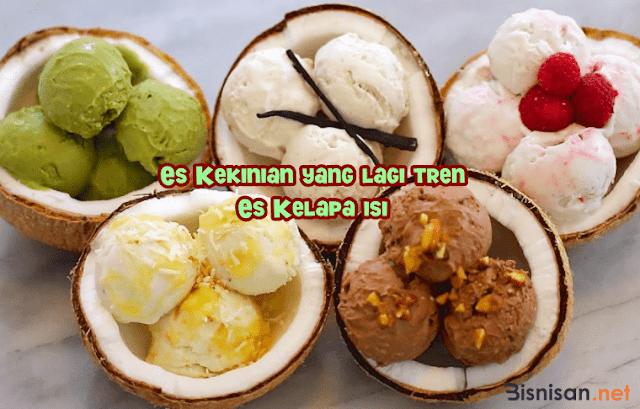 Es Kekinian yang lagi tren es kelapa isi