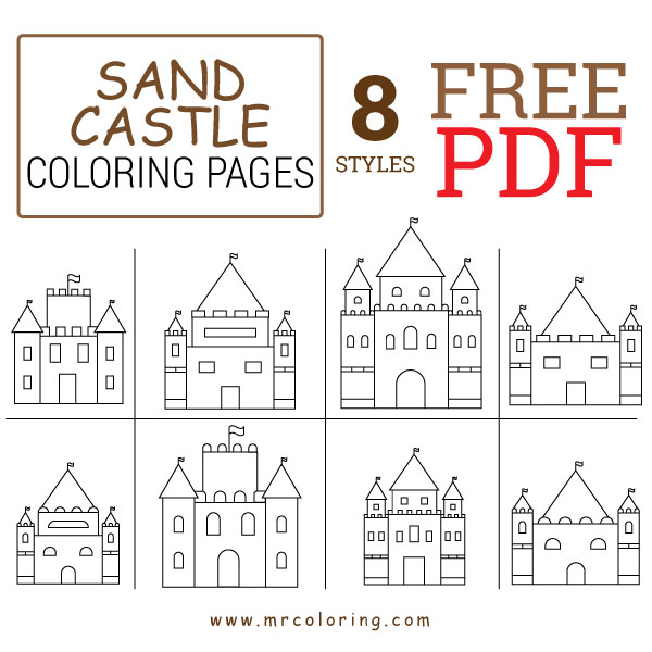 Sand Castle Coloring Pages Free pdf For Kids