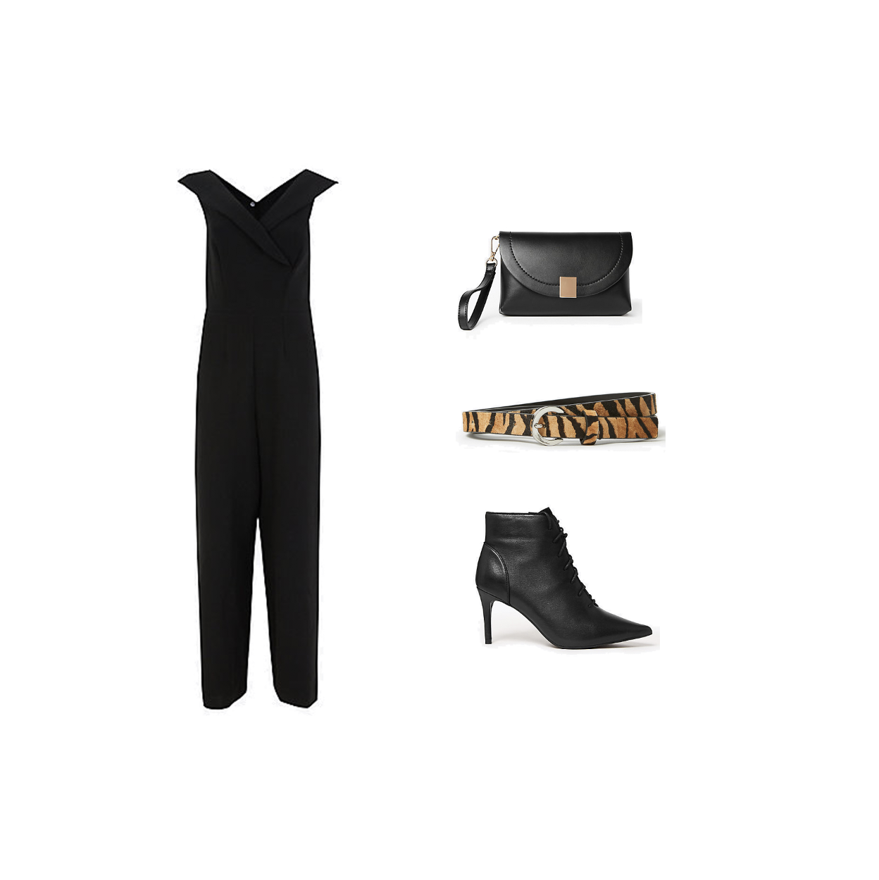 my midlife fashion, marks and Spencer, party wear, party wear, marks and Spencer off the shoulder jumpsuit, marks and Spencer leather animal print belt, marks and Spencer soft clutch bag, marks and Spencer leather lace up stiletto heel ankle boots