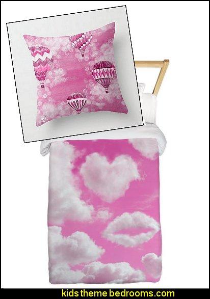 Heart Clouds duvet cover hot air balloons throw pillow
