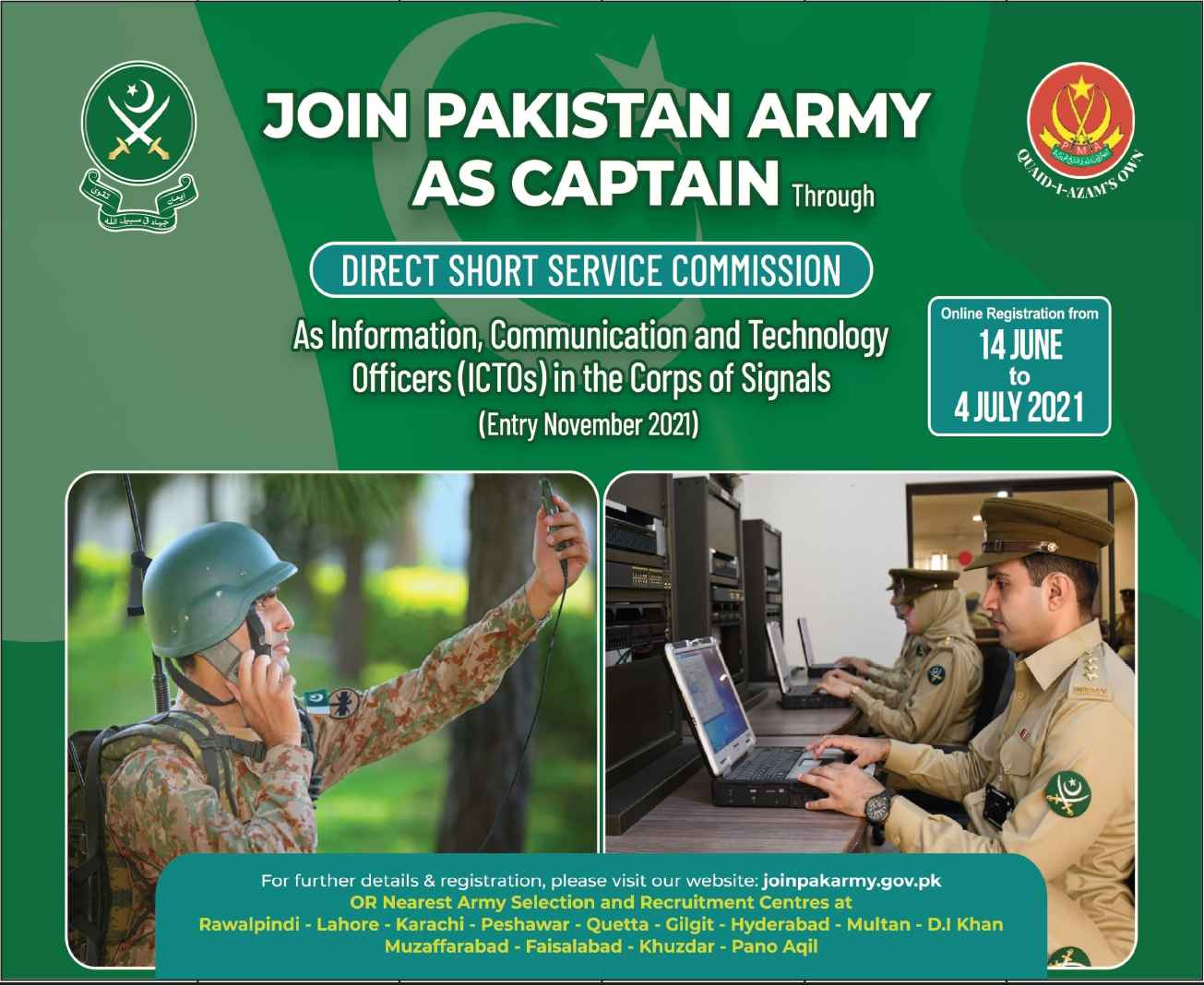 Join Pakistan Army As Captain Through Direct Short Service Commission For ICTOs Officers Jobs 2021