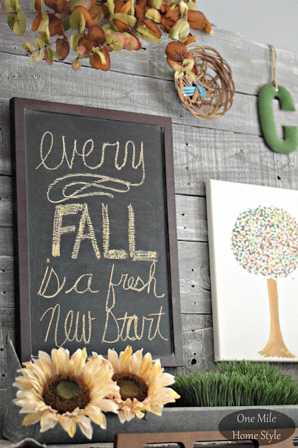 Fall Sunflower Vignette - One Mile Home Style Fall Home Tour