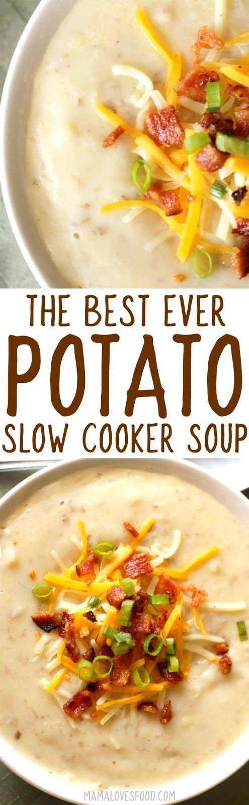 Potato Soup in the slow cooker or instant pot is the best way to make simple creamy potato soup, and with no milk or cream!
